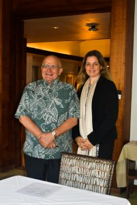 EWC President Richard R. Vuylsteke and Hawai'i Green Growth Executive Director Celeste Connors at the agreement signing.